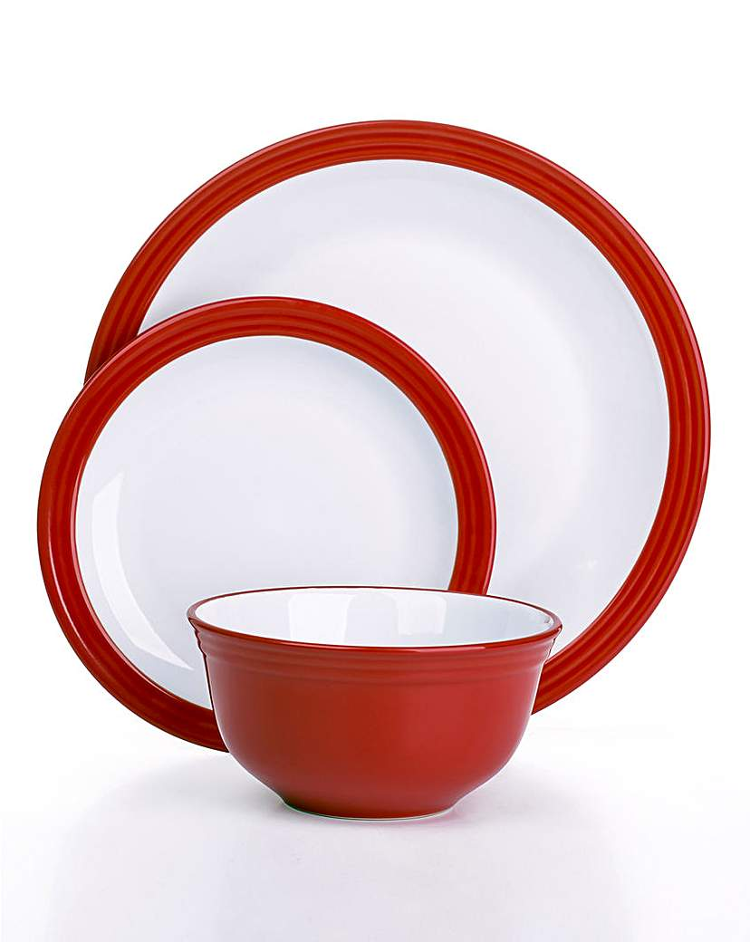 Image of 12-Piece Camden Dinner Set Red