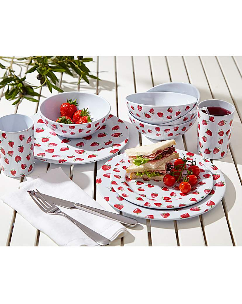 Image of 16pc Outdoor Dinnerset Strawberry Fields