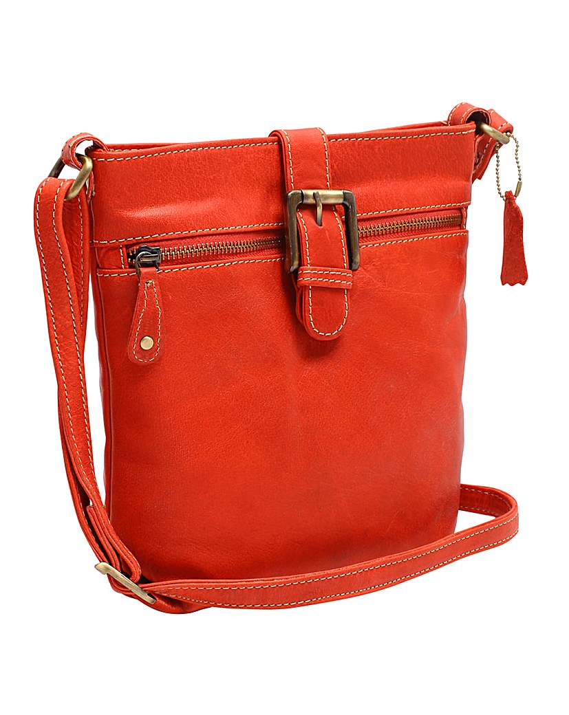 Image of Blousey Brown Leather Crossbody