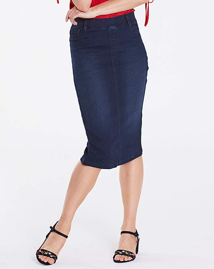 Amber Pull-on Stretch Denim Tube Skirt.