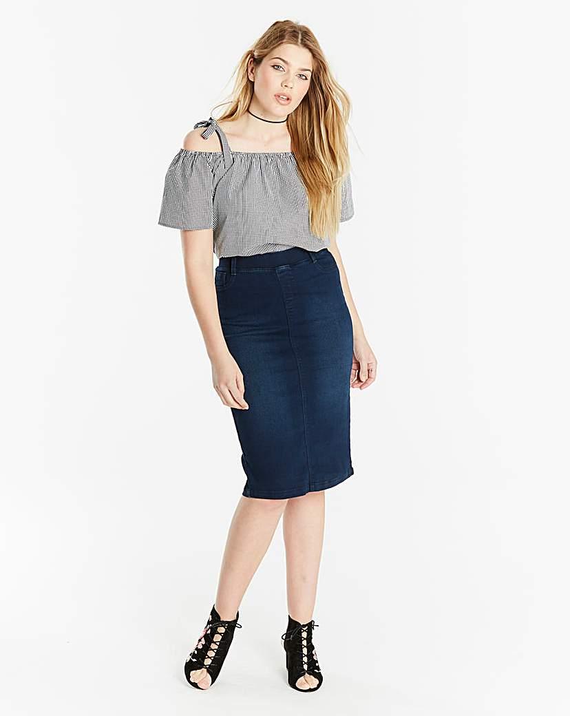 Amber Pull-on Stretch Denim Tube Skirt.