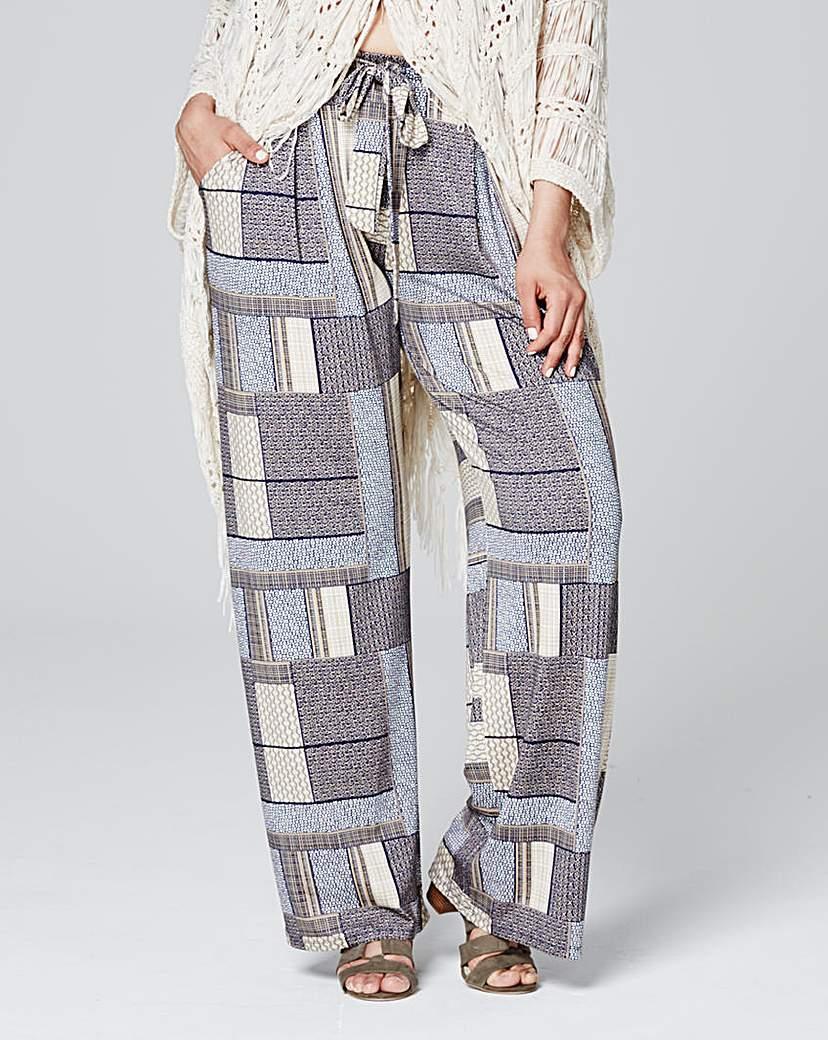 Print Tie Belt Wide Leg Trouser Regular