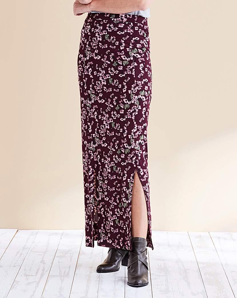 Print Double Side Split Maxi Skirt