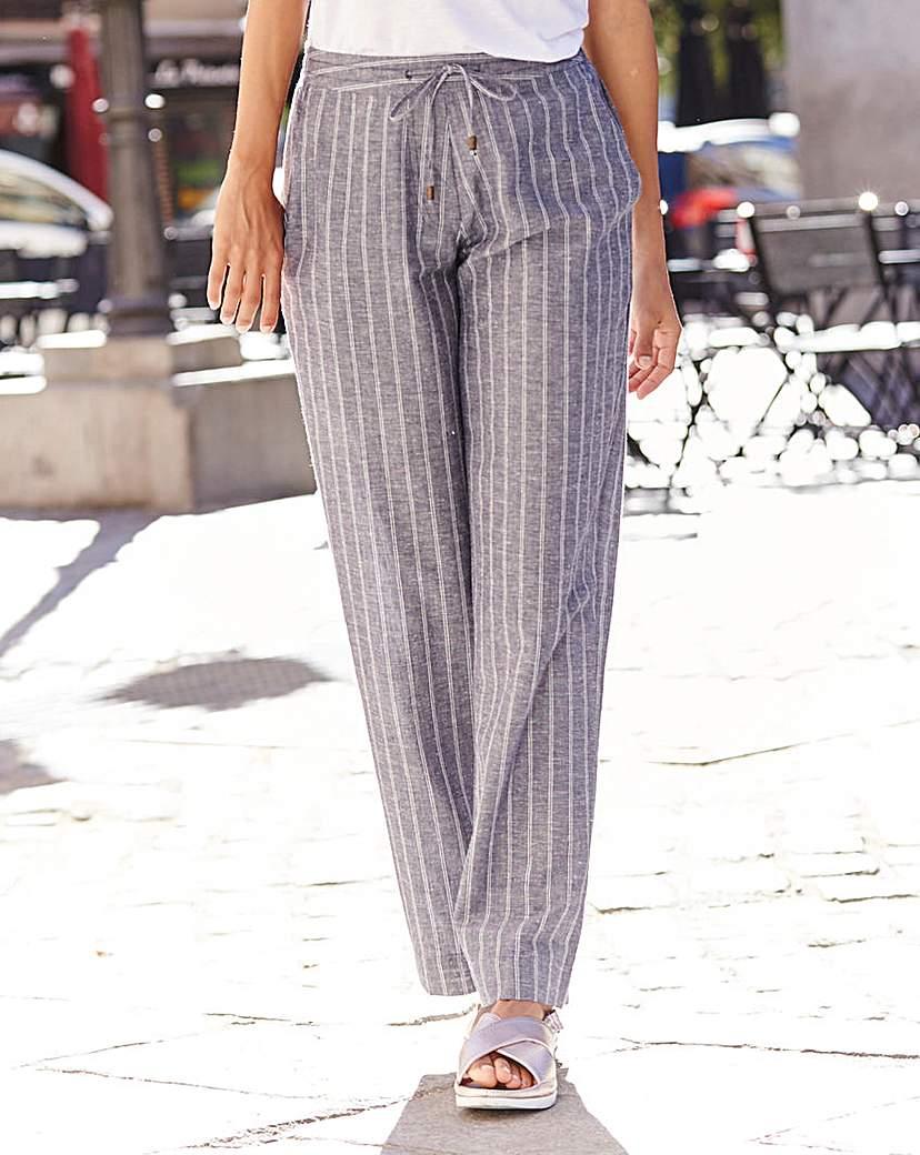 Image of Stripe Linen Mix Wide Leg Trouser XShort