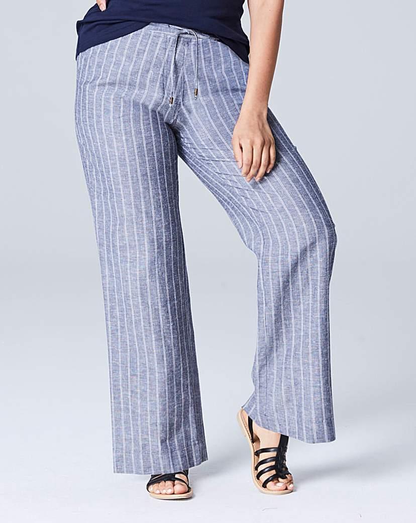 Stripe Linen Mix Wide Trouser Reg.