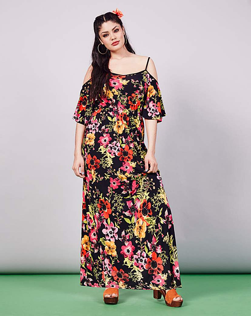 Image of Simply Be Cold Shoulder Print Maxi Dress