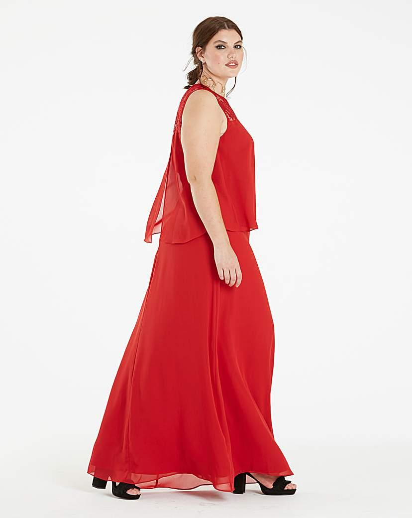 Lace Yoke Layer Maxi Dress.