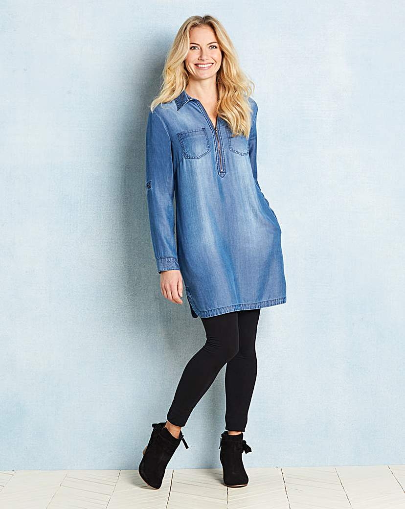 Soft Lyocel Denim Tunic with Zip Front
