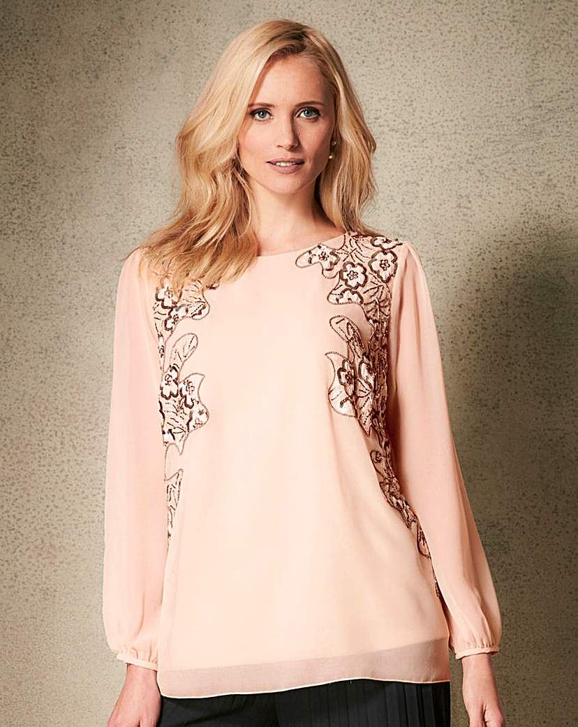 1920s Style Blouses, Tops, Sweaters, Cardigans Sequin Cut Out Top £45.00 AT vintagedancer.com