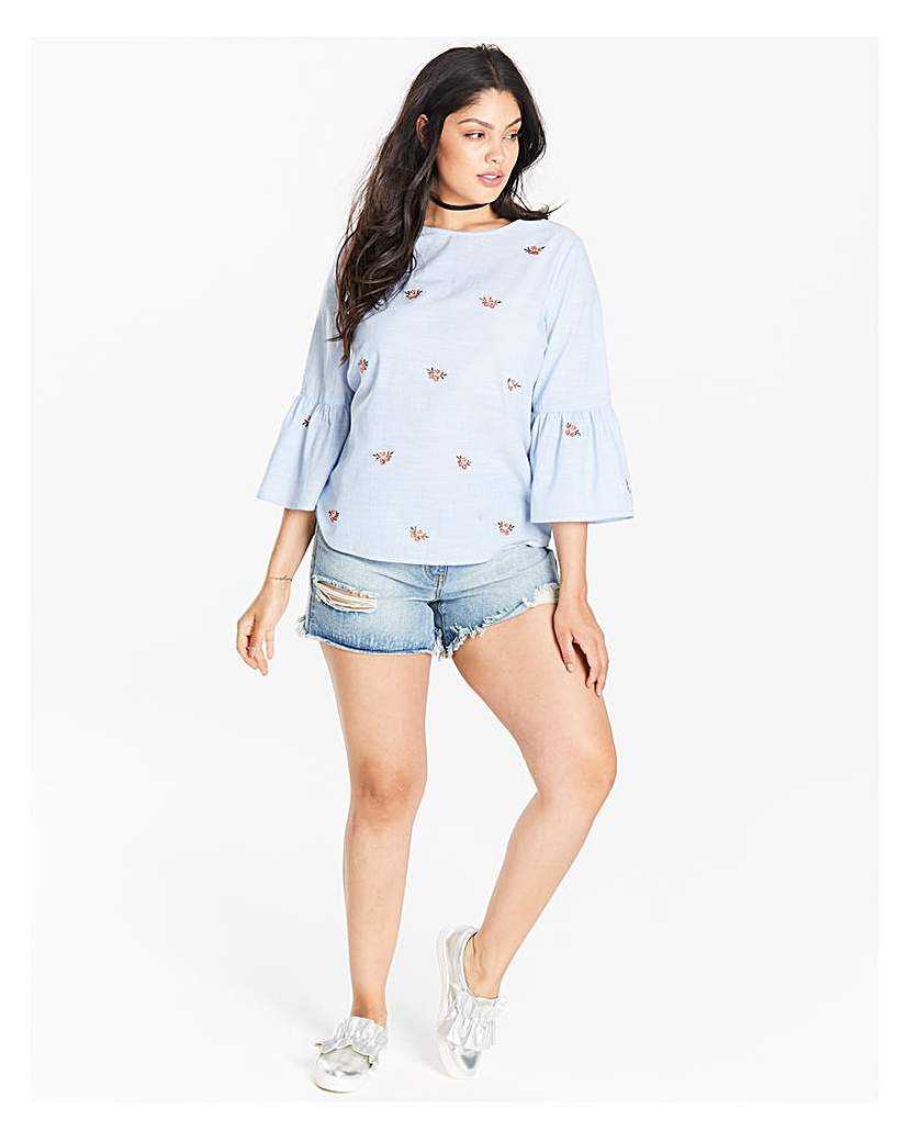 Image of Pale Blue Fluted Sleeve Blouse