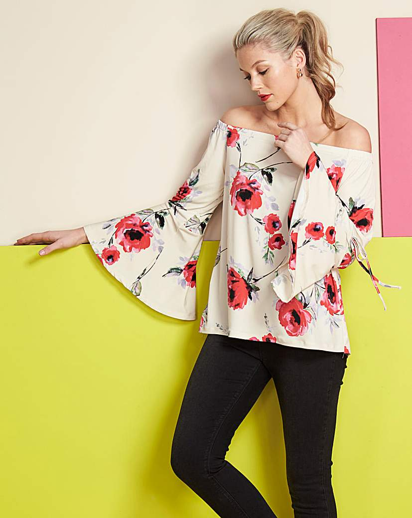 Ivory Print Flared Sleeve Bardot Top