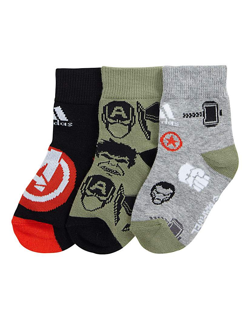 Image of adidas Marvel Boys Pack of 3 Socks