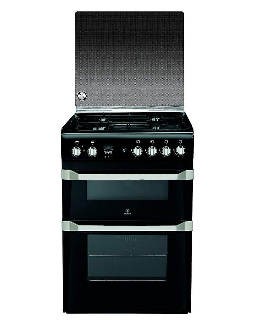 Indesit 60cm Gas Double Oven Black