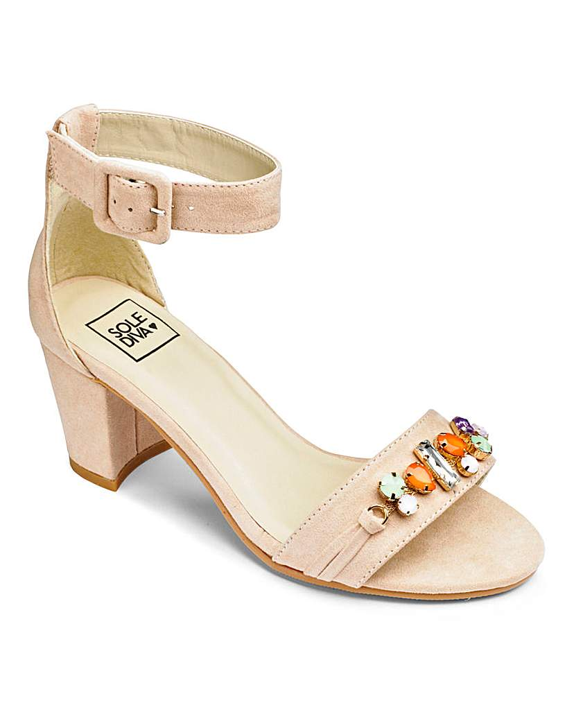 Sole Diva Jewelled Front Sandal E Fit