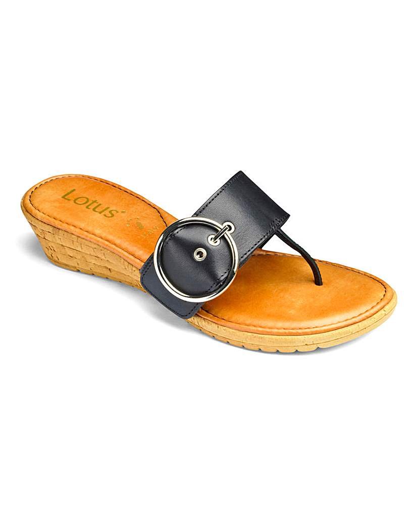 Lotus Low Wedge Toepost Sandals E Fit.