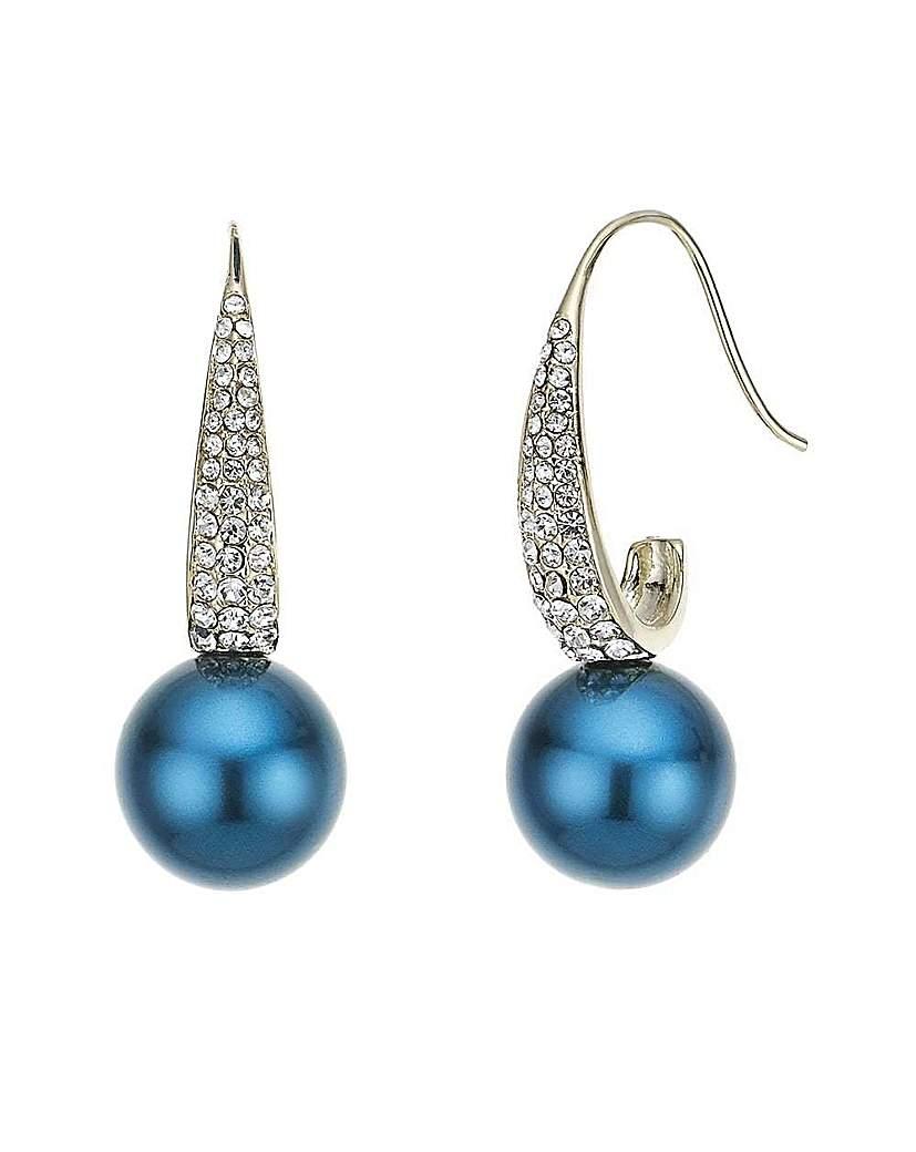 Mood pave teal pearl drop earring