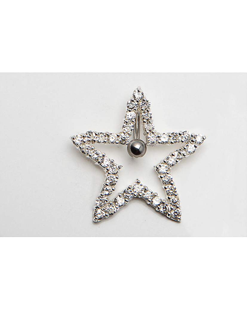 Image of Large Silver Star Navel Bar