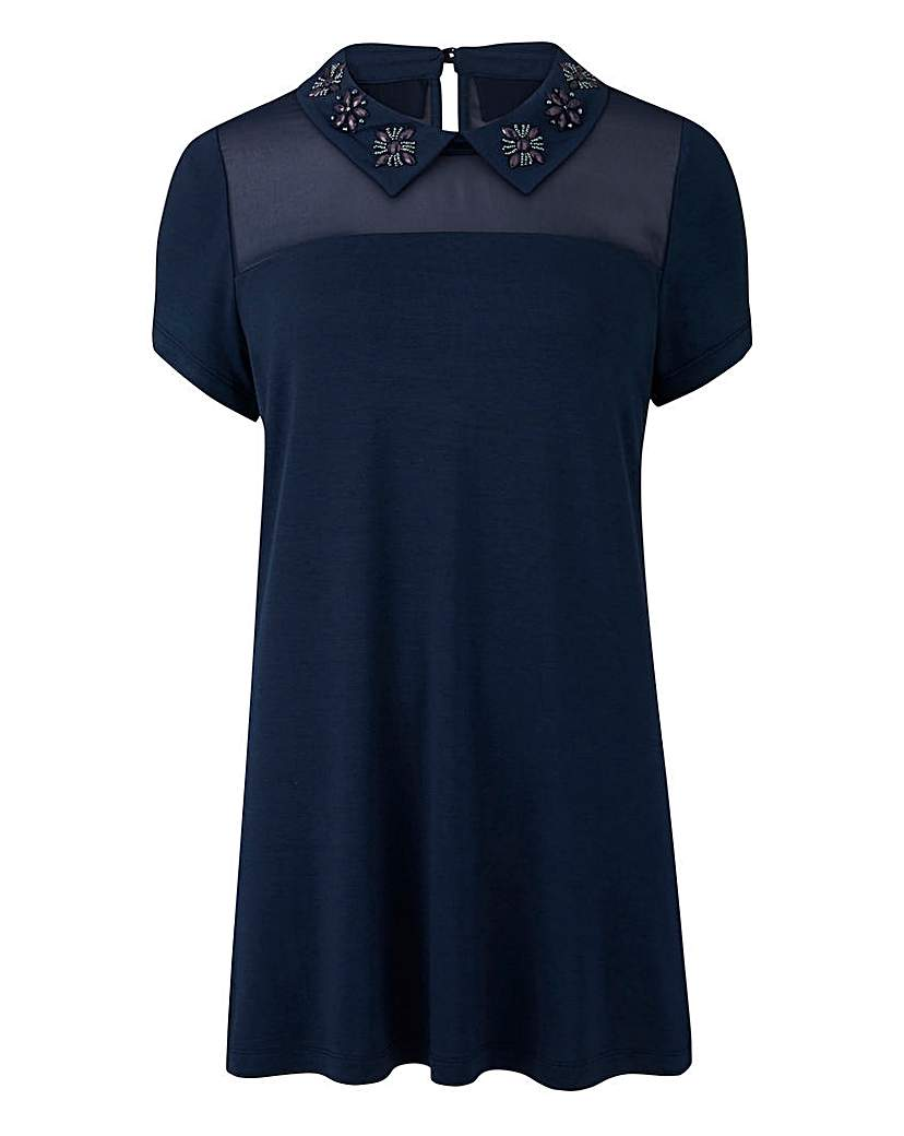 1920s Style Blouses, Tops, Sweaters, Cardigans Navy - Embellished Jewel Collar Top £26.00 AT vintagedancer.com