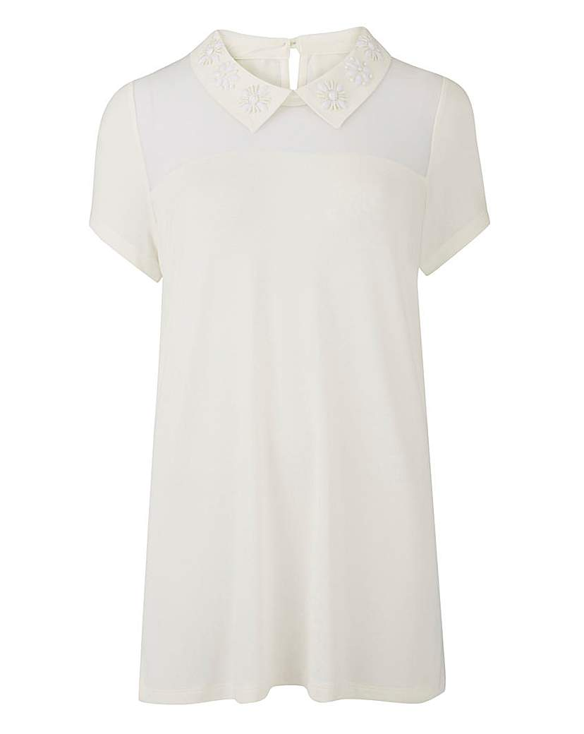 1920s Style Blouses, Tops, Sweaters, Cardigans Ivory - Jewel Collar Top £26.00 AT vintagedancer.com