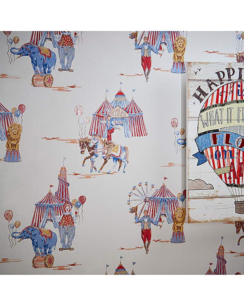 Image of Circus Fun Red/Blue Glitter Wallpaper