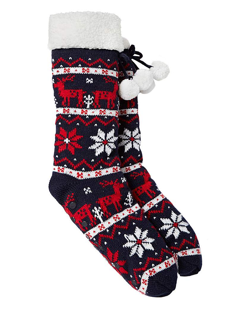 Totes Reindeer Slipper Socks