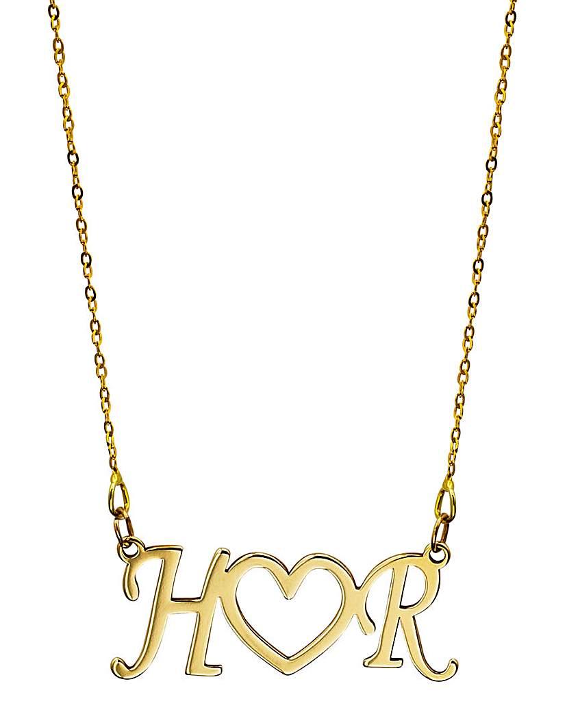 9 Carat Gold Initials Heart Necklet