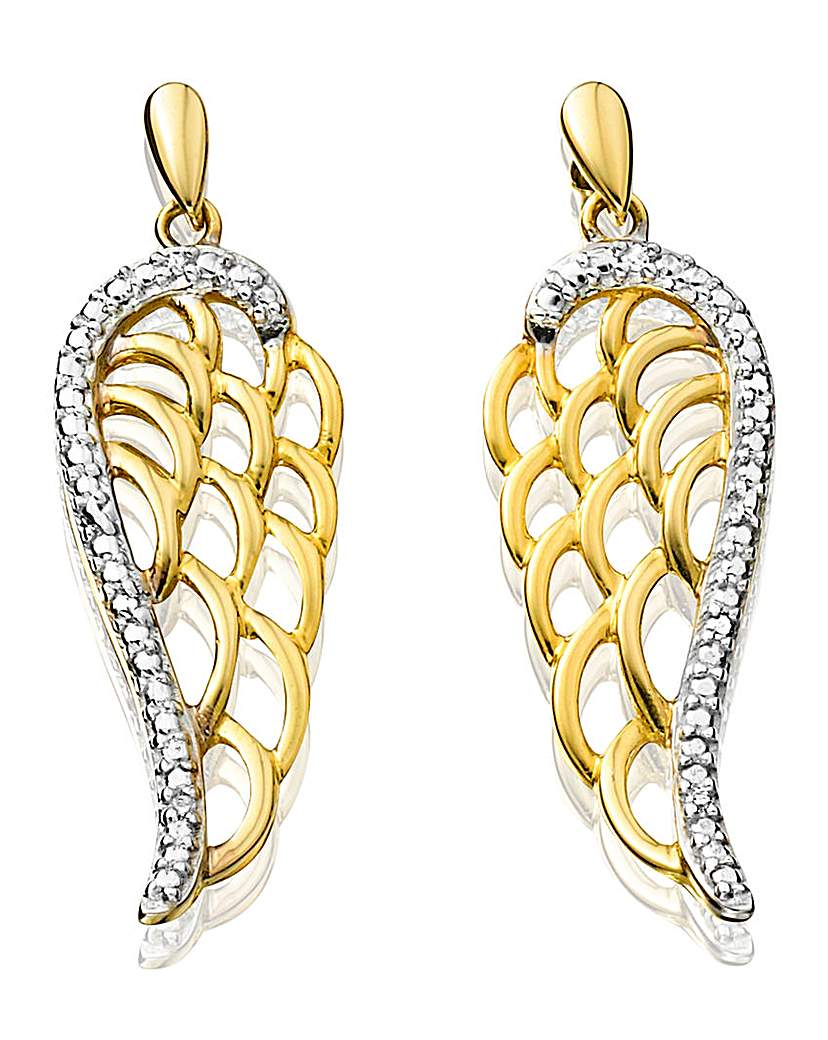 Image of 9 Carat Gold Angel Wing Earrings