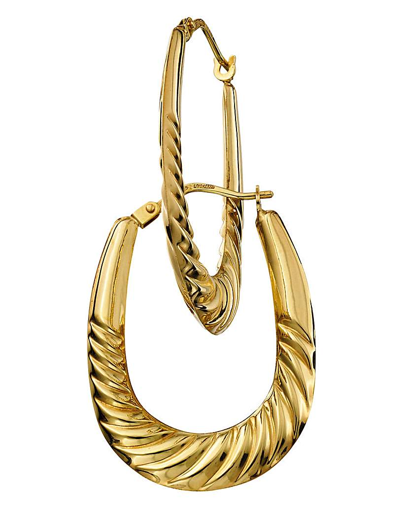 Image of 9 Carat Gold Hollow Large Hoop Earrings