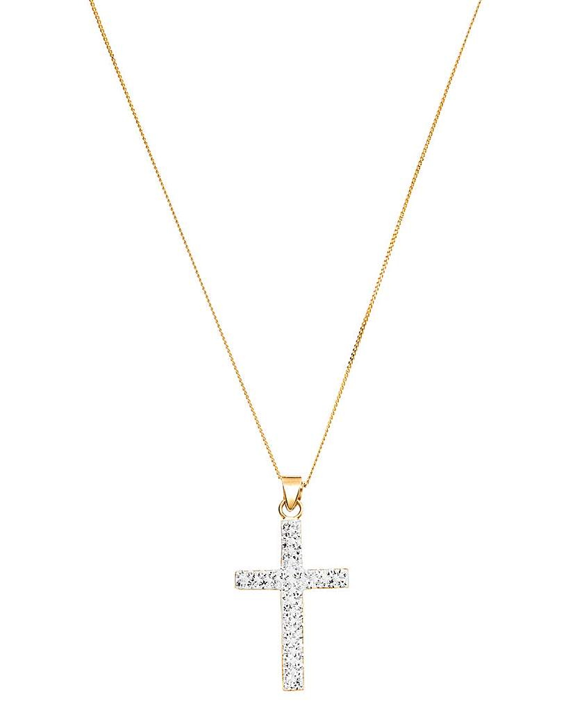 Image of Crystal Glitz 9 Carat Gold Cross Pendant