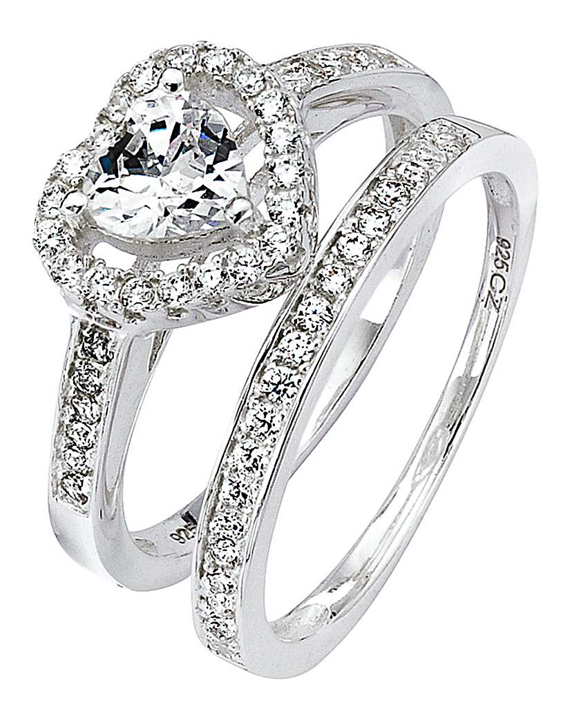 Image of Cubic Zirconia Two-Piece Heart Ring Set