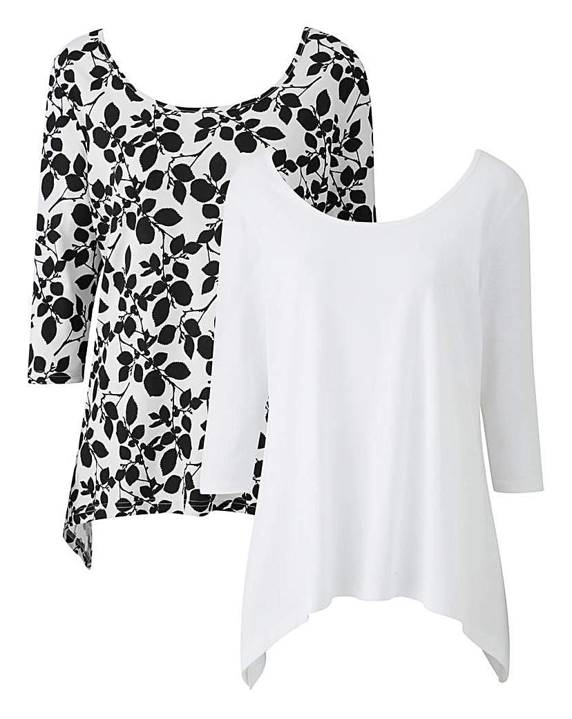 White/Floral Pack of 2 Hanky Hem Tops