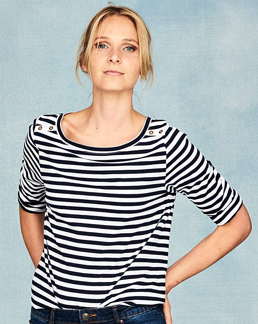 1930s Style Tops, Blouses & Sweaters NavyStripe Pack of 2 Boat Neck Tops £16.00 AT vintagedancer.com