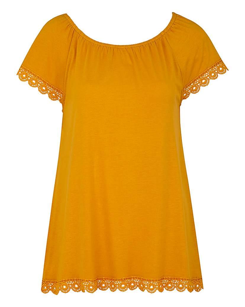 Saffron Gypsy Top With Crochet Trim