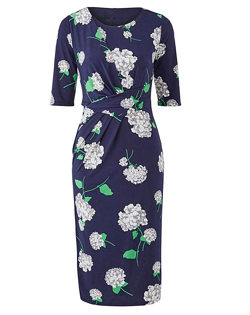 1940s Dresses and Clothing UK Navy Print Twist Knot Dress £29.00 AT vintagedancer.com
