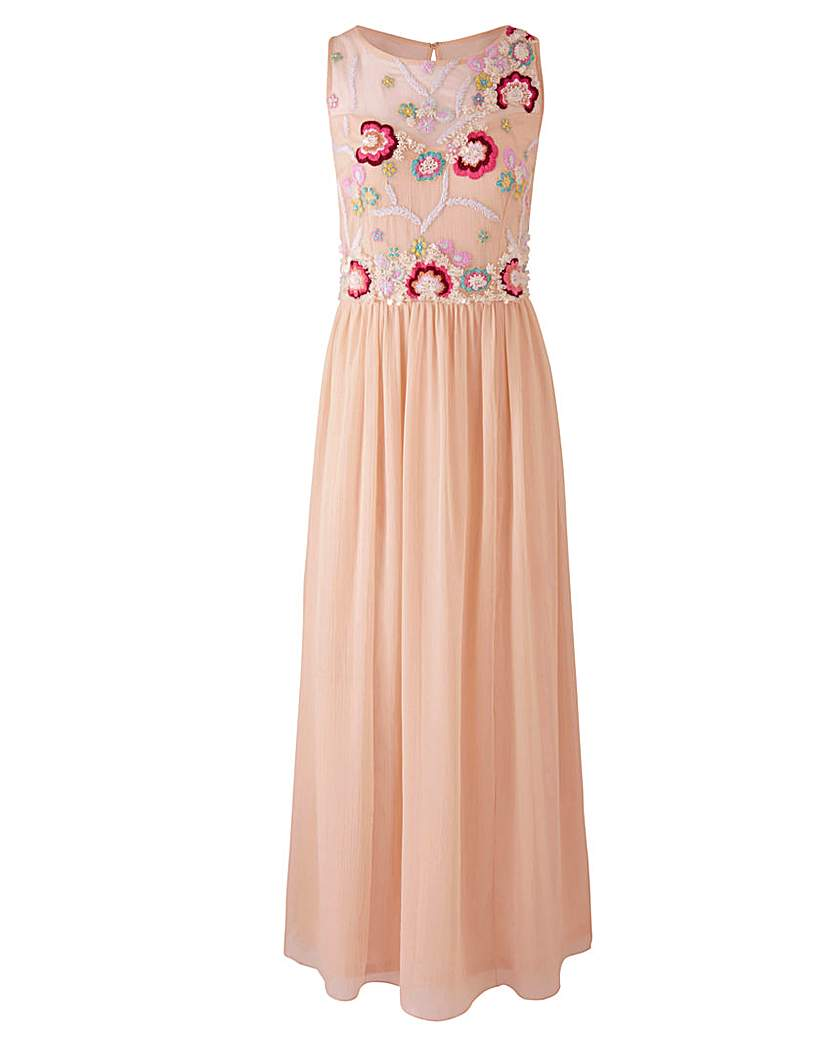 Nude Embroidered Maxi Dress.