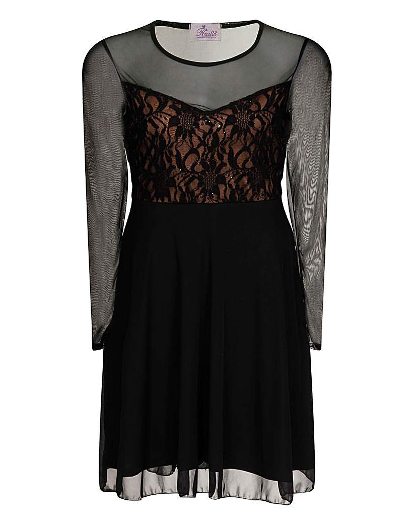Praslin Lace Sequin Top Black Dress