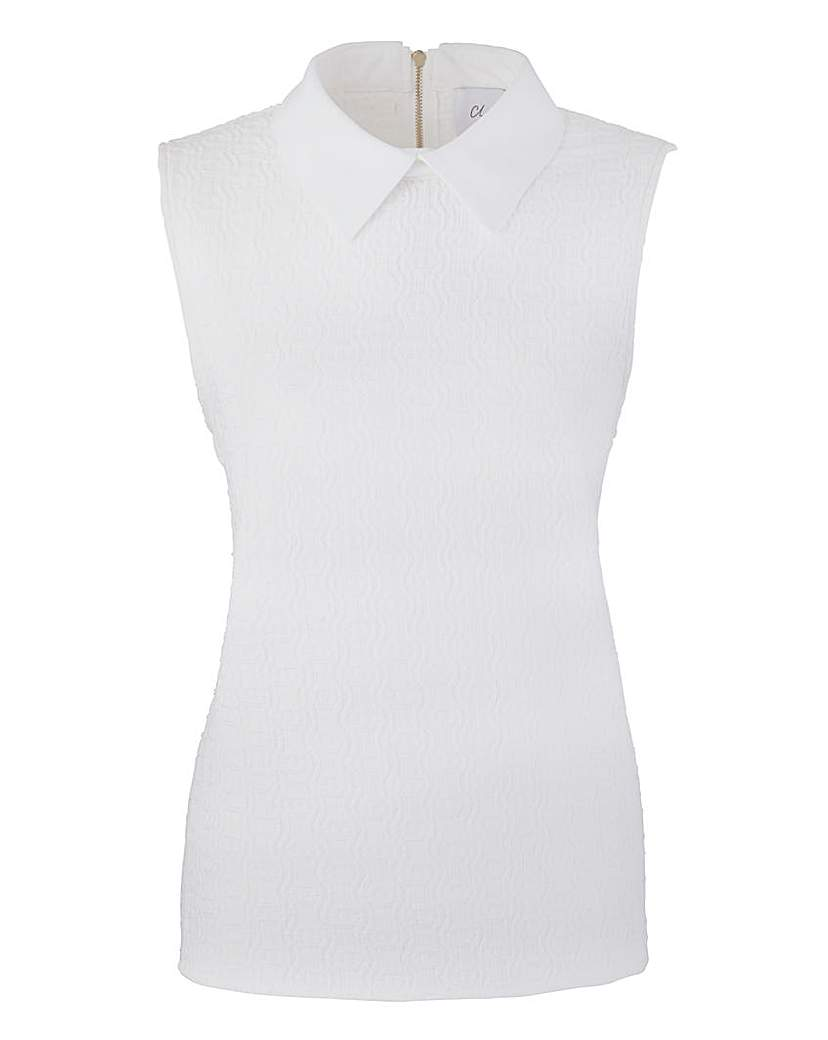 Image of Closet Collared Textured Jersey Top