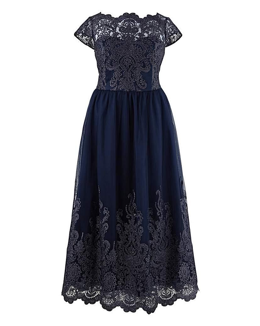 Chi Chi Embroidered Overlay Bardot Dress £82.00 AT vintagedancer.com