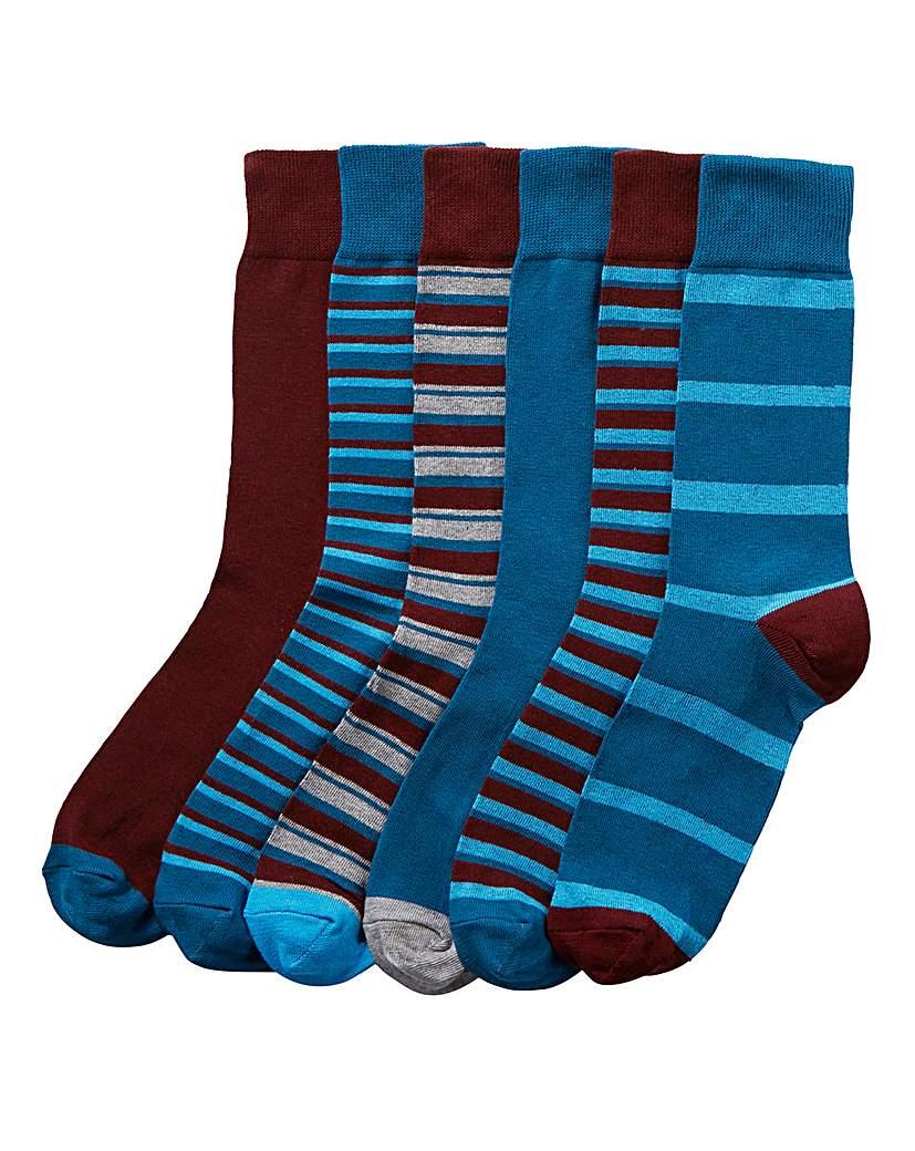 Capsule Pack of 6 Stripe Socks