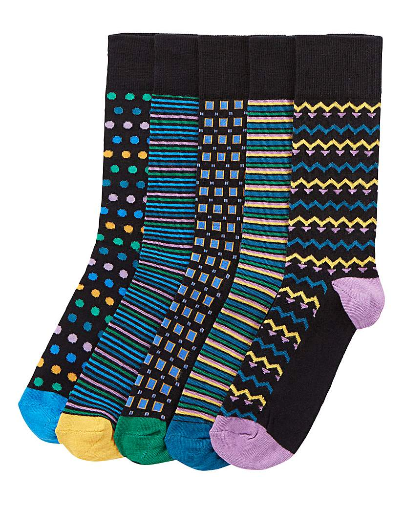 Capsule Pack of 6 Bright Print Socks