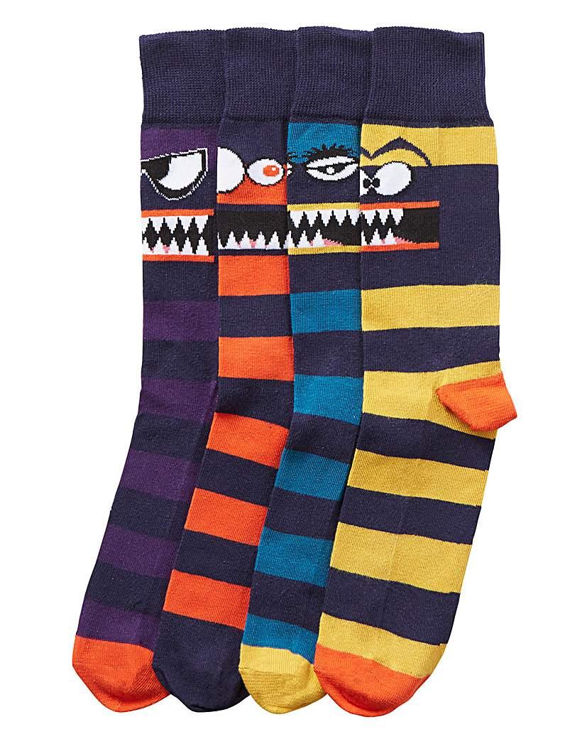 Capsule Pack of 4 Monster Socks