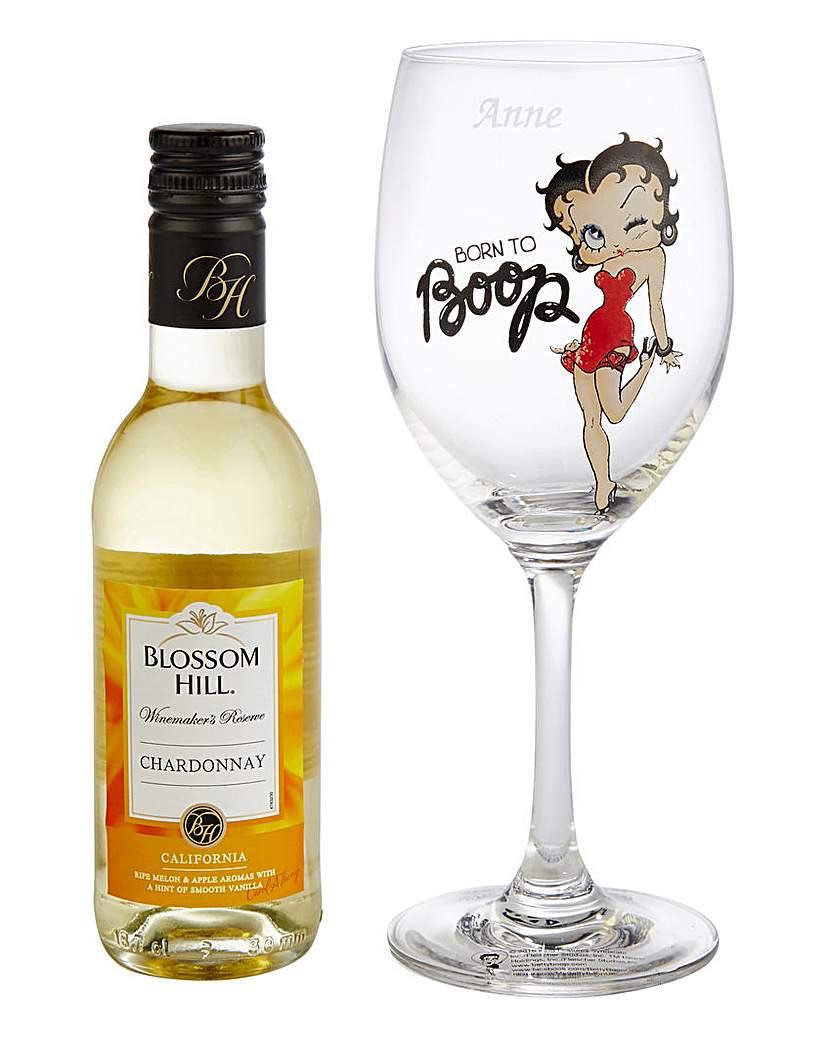 Image of Personalised Betty Boop Glass & Wine