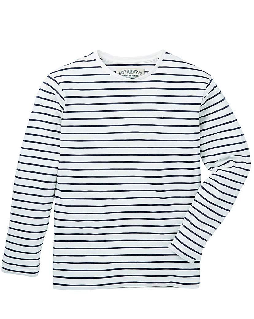 Jacamo Ashford L/S Stripe T-Shirt Reg.