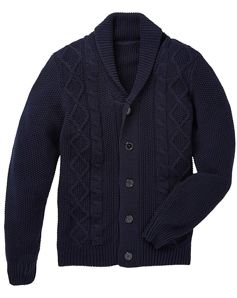 Men's Vintage Style Sweaters – 1920s to 1960s Jacamo Arvin Cable Shawl Neck Cardigan £30.00 AT vintagedancer.com