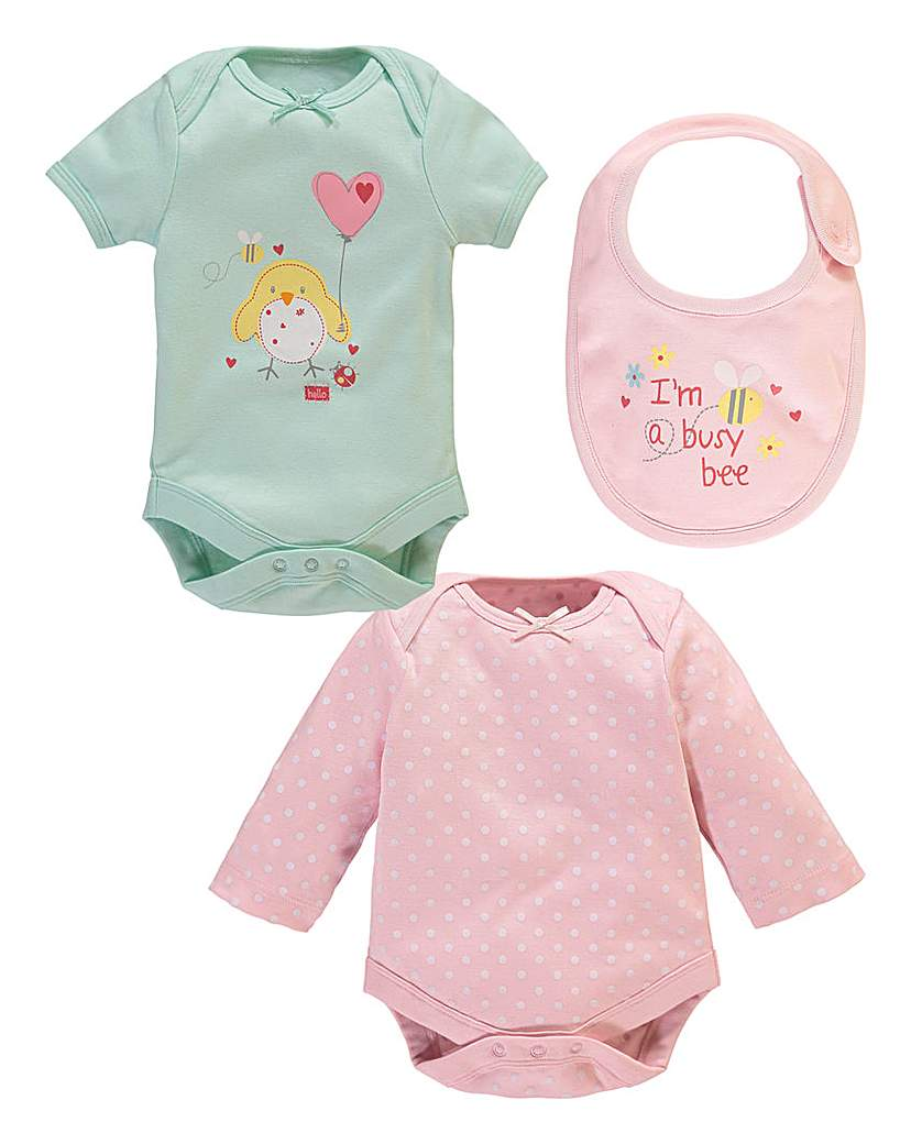 KD BABY Girls Bodysuit and Bib Set