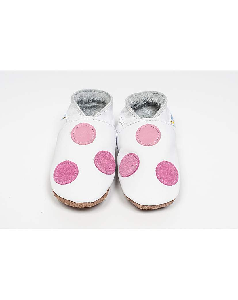 Image of Hippychick Baby Shoes White/Rose Spots