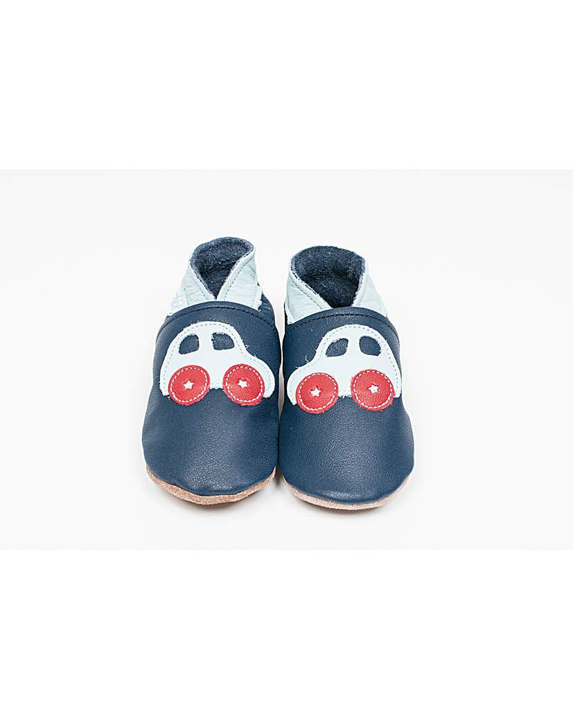 Image of Hippychick Baby Shoes Navy Blue Cars