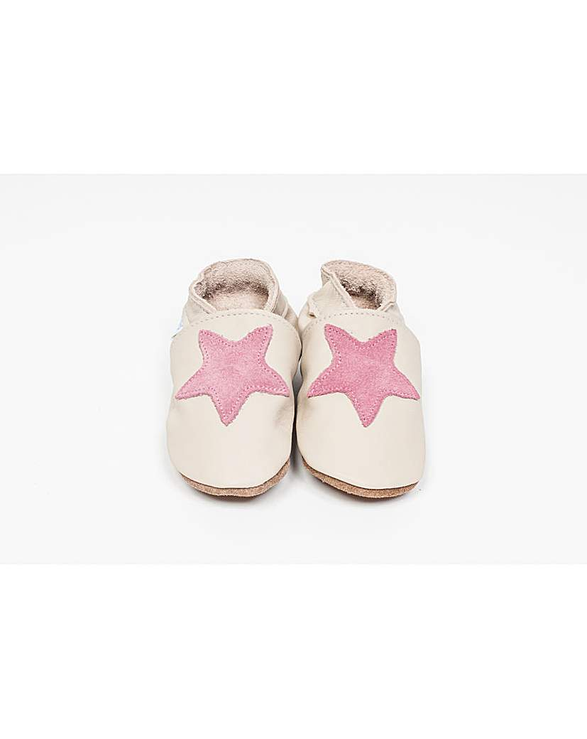 Image of Hippychick Baby Shoes Cream/Pink Stars