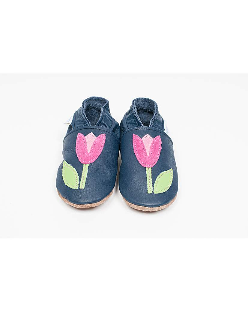 Image of Hippychick Baby Shoes Navy/Pink Tulip