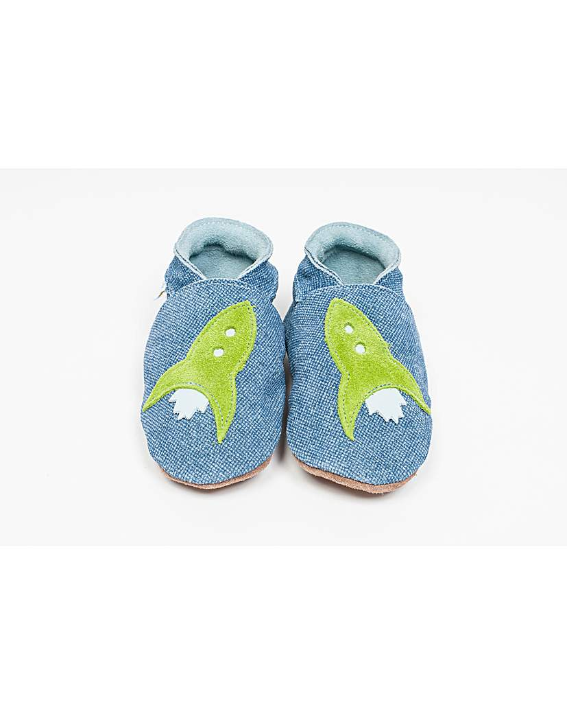 Image of Hippychick Baby Shoes Blue Denim Rockets